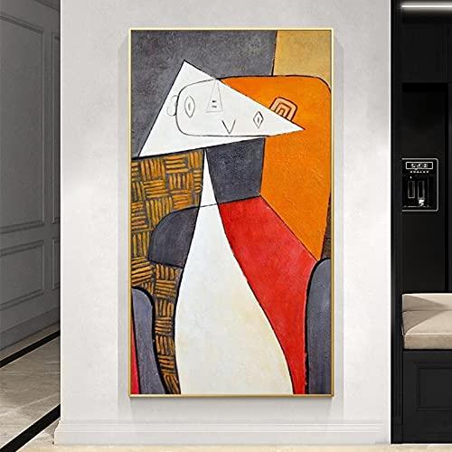 Pinturas de arte abstracto en lienzo de Picasso Reproducciones famosas Carteles e impresión de arte abstracto en la pared para la decoración de la sala de estar 80x120cm (31.5x47.2in) Sin marco