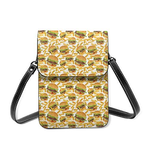 Mini sac à bandoulière pour téléphone portable - Café avec cuillères dorées - Blocage RFID - Bandoulière réglable - - Hamburger et frites, Taille unique