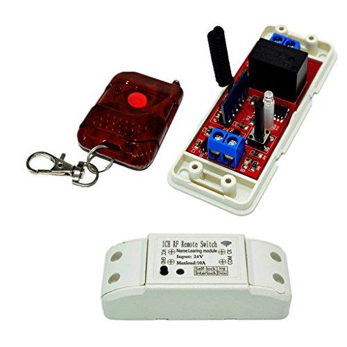 FITYLE Interruptor de Control Remoto Inalámbrico 1 CH DC 24V 433MHZ con Receptor de Retransmisión