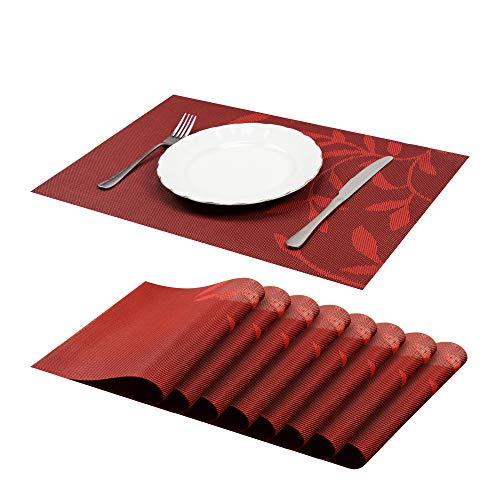 JJ JUJIN 8er Set Platzsets Abwaschbar rutschfest Vinyl PVC hitzebeständigen Tischsets für Küchentisch 30 * 45cm Rot