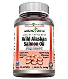 Amazing Omega Wild Alaskan Salmon Oil-2400 mg Salmon Oil Per Serving,120 Softgels(Non-GMO,Gluten Free)-Supports Heart, Joint & Brain Health and Promotes Healthy inflammatory Response