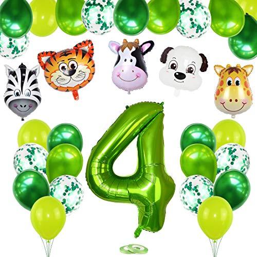4 Años Selva Fiesta de Cumpleaños Decoracion, 4 Años Cumpleaños Decoración Set con Foil Globo Número 4 Verde y Bosque Animal Globos para Niño Niña 4er Cumpleaños Baby Shower