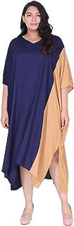 Lastinch Women's Plus Size Rayon Color Block Kaftan Dress