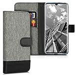 kwmobile Hülle kompatibel mit ZTE Axon 10 Pro - Kunstleder Wallet Hülle mit Kartenfächern Stand in Grau Schwarz