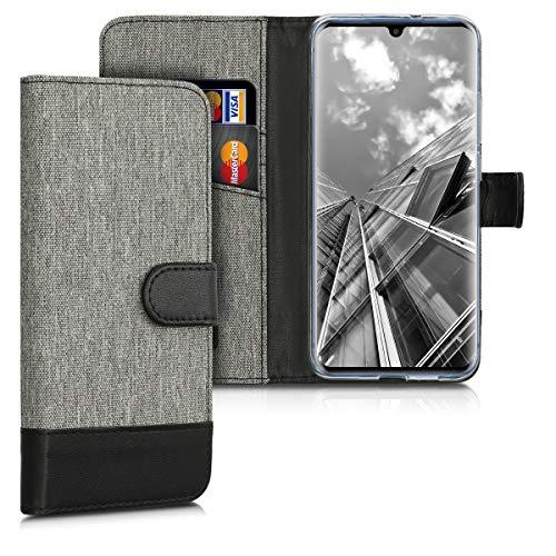 kwmobile Hülle kompatibel mit ZTE Axon 10 Pro - Kunstleder Wallet Case mit Kartenfächern Stand in Grau Schwarz
