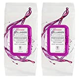Body Prescriptions 2 Pack (60 Count Each) Collagen with Vitamin E Facial Cleansing and Make Up Remover Wipes – Flip Top Pack