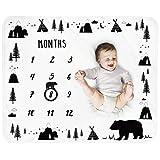 Baby Monthly Milestone Blanket Boy - Bear Newborn Month Blanket Unisex Neutral Personalized Shower Gift Woodland Nursery Decor Photography Background Prop with Frame Large 51''x40''