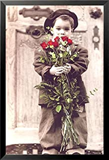 Buyartforless Work Framed Boy with Red Roses by Kim Anderson 36x24 Art Print Poster Photograph Cute Kids with Flowers Romantic Romance, Black & White