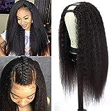 U Part Wig Human Hair Kinky Straight Wigs for Black Women, 14 inch Italian Yaki Straight Half Wig 2x4 U Shape Clip in Wigs Remy Human Hair Extension