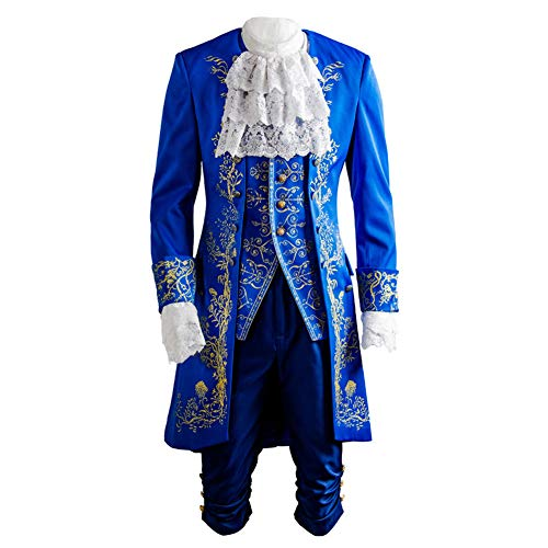 SIDNOR Beauty and The Beast Prince Dan Stevens Blue Uniform Cosplay Costume Outfit Suit