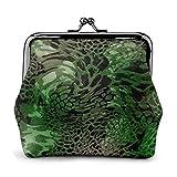 Serpiente Verde PU Cuero Exquisito Hebilla Monederos Monedero Vintage Clásico Kiss-Lock Cambio Monedero Carteras Regalo