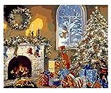 XSDFG Pintura por Números para Adultos con Pinceles y Pinturas decoración de Pared-Navidad, Ventana(40×50cm, Sin Marco)