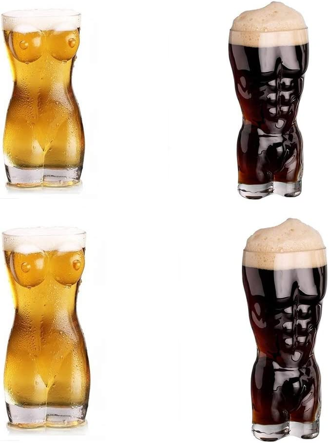 Fovely Shot Glasses Creative Lady and Man Body Shape Glass Cup Borosilicate Glass Cup Drinking Cup for Vodka Whisky Beer Glass