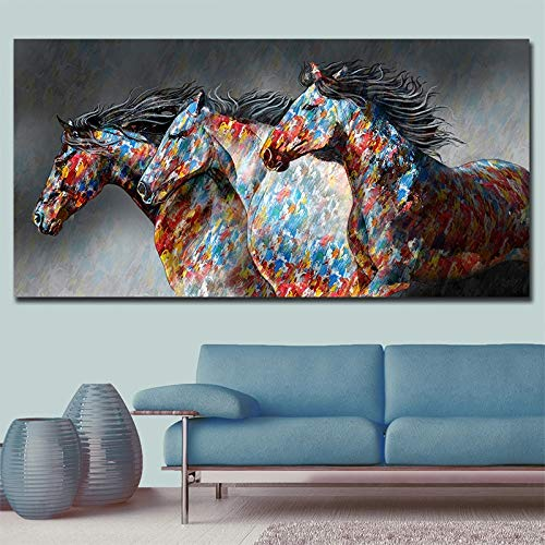 SDFSD Animal Oil Painting Black Fashion Running Horse Canvas Canvas Canvas Nordic Poster Printing Printing 60X120CM