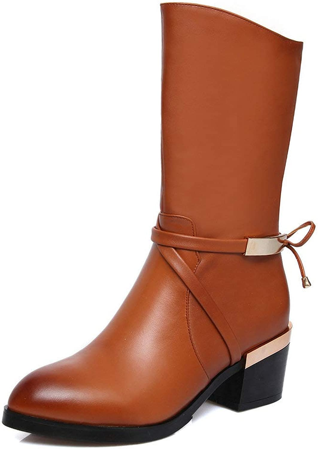 AnMengXinLing Fashion Mid Calf Boot Women Low Block Heel Genuine Leather Pointed Toe Strappy Side Zipper Western Cowboy Boots