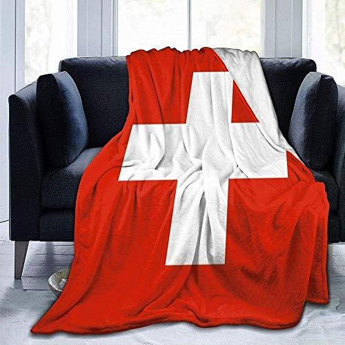 VAADIOSII Super warme, Bequeme & weiche Flanelldecke für alle Jahreszeiten,Flagge der Schweiz 60 x 50 Ultra Soft Cosy Warm Throw