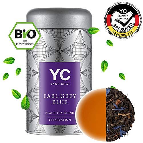 Yang Chai Bio Earl Grey Blue Tee in Premium Qualität hochwertiger Schwarztee mit Bergamotte, lose – das ideale Tee Geschenk für Teeliebhaber in stabiler Teedose