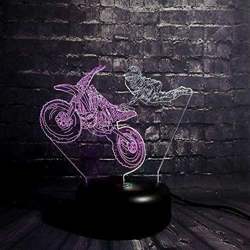 Circuito de luz nocturna 3D Moto Acrobatic Show Mixed s 7 colores Lámpara de escritorio táctil cambiante para niños Cumpleaños Regalos de Navidad