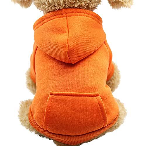 Yowablo Hund Pullover, Hundepullover, Haustier Sweater, Sweatshirt, Hunde Pullover, Kleidung, Hundebekleidung, Hundepullover, Baumwolle Sweatshirt für Welpen große Hunde (S,1- Orange)