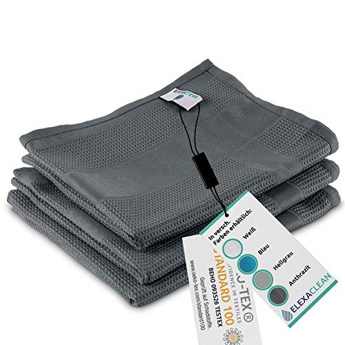ELEXACLEAN Geschirrtücher Microfaser (3er Set, 68x42 cm, dunkel-grau/anthrazit) - OEKO-TEX® STANDARD 100 - Geschirrhandtücher, Handtücher Küche modern