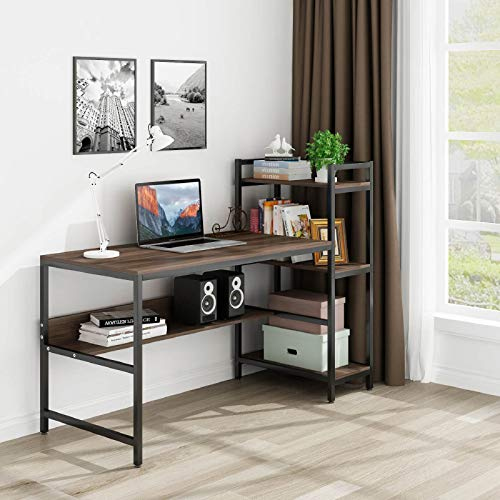 Tower Computer Desk with 4 Storage Shelves- Writing Study Table with Bookshelves Modern Study Desk Stable Student Desk for Small Space Steel Frame & Wood Desk Home Office Workstation –Walnut