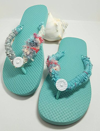 Crochet button teal flip flops. Made by Bead Gs on AMAZON. Ladies size 9 to 10