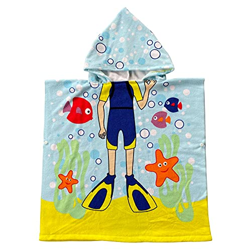 YunYoud Badetücher Badehandtuch Kinder Hai Exquisites Muster Bademantel Badeponcho Badetuch Kinder Jungen Mädchen Cute Handtuch mit Kapuze für Strandhandtuch Kapuzenhandtuch Baby Schulter Badetuch