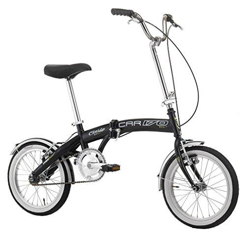 Cicli Cinzia Bicicletta 16' Citybike Pieghevole Boat Bike, Senza Cambio, V-Brake Alluminio, Nero Opaco, Unisex – Adulto
