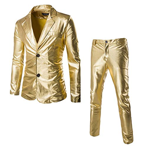 Greetuny 2pcs Casual Trajes Hombre Vestir Modernos Pavón Slim fit Pantalones de Traje Brillante Chaquetas Fiesta (XXL, Oro)