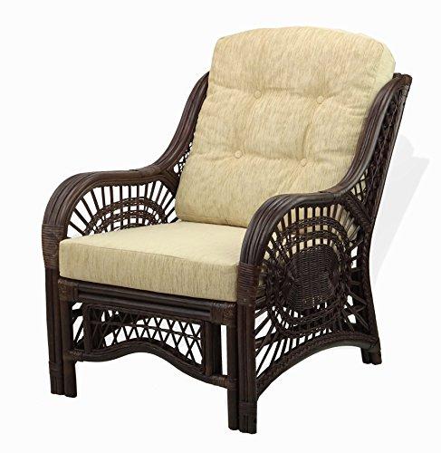 Lounge Malibu Armchair ECO Natural Rattan Wicker Handmade Design with Cream Cushion,Dark Brown