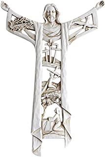Perfk Risen Christ Statue Hollow Out Church Wall Cross Christian Crucifix Collectible