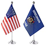 ZXvZYT 2 Pack American US Wisconsin flag USA Wisconsin WI State table flag,Small Mini United States Desk Flags With Stand Base,for U.S. States Party Events Celebration Decorations Supplies