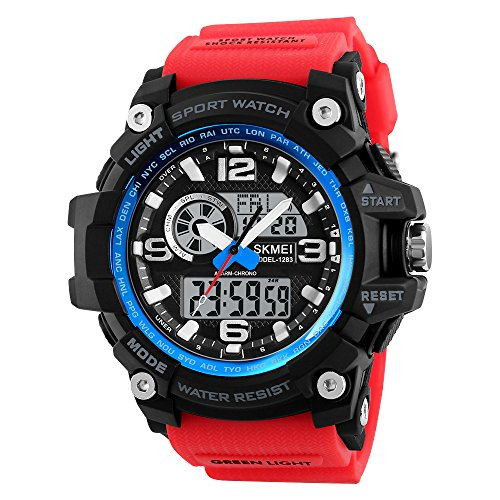 Men's Military Sports Watches Outdoor Multifunction Chronograph Digital Quartz Dual Display Wristwatches for Men