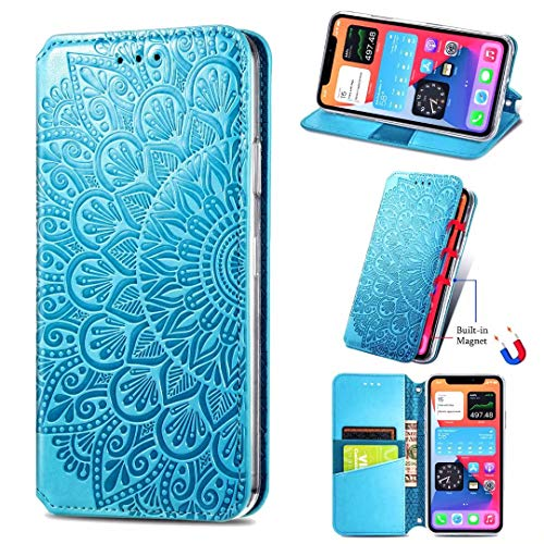 KRjcsfhy Funda para Nokia C01 Plus, de piel premium, a prueba de golpes, con diseño de mandala y funda protectora magnética de TPU con soporte para tarjetas, ranuras para Nokia C01 Plus, color azul