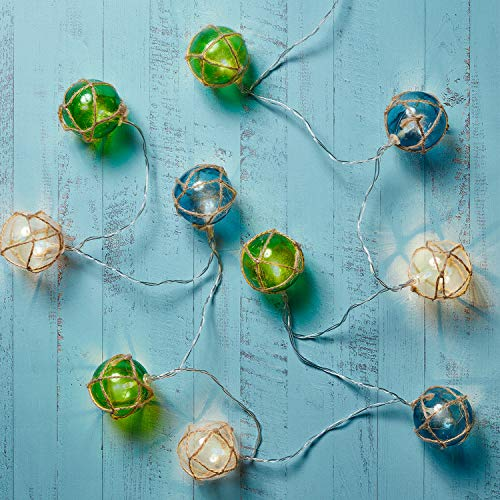 Lights4fun, Inc. 10 Glass-Style Buoy Battery Operated Indoor & Outdoor LED String Lights