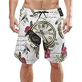 Plumas de pájaro, Cuervo Negro y Rosa roja, Llaves Reloj Vintage Bañador para Hombre Verano 3D Imprimir Gráfico Casual Natación atlética Pantalones Cortos XL