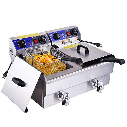 WeChef 24.7 QT Commercial Electric Deep Fryer Dual Tanks with Timers Drains Reset Button French Fry Restaurant Home