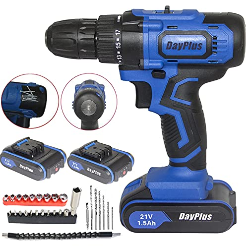 Cordless Drill Set with 2 Batteries - Electric Screwdriver 21V 45N.m Impact Driver Kit for Craftsman Starter Women, Rechargeable, 2 Speed & 18+1 Torque Setting, Ideal for Home Garden Workshop Garage