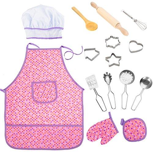 ThinkMax 15 Set da Cucina per Bambini, Cooking Dress Up for Children, Kit Grembiule Impermeabile da 15 Pezzi per Ragazze con Cappello da Cuoco, Guanto da Cucina e coperture per Biscotti(Viola)