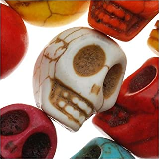 Beadaholique SPMX-91 20 Bright Color Mix Dyed Stone Carved Skull Beads, 12mm