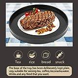 Rundes Tablett Rund Serviertablett Schwarzes Frühstück Kaffee Cup Teetablett Badezimmer Tablett klein Deko Tablett für Café, Bar, Restaurant 30cm - 3