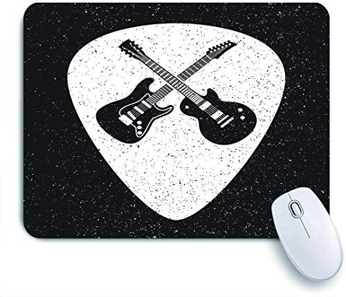 FOURFOOL Alfombrilla de Ratón,Insignia de Guitarras de Rock Fest Señalización de Etiquetas Mediador de púas de Guitarra,Base de Goma Antideslizante Alfombrilla para PC y Portátil 240x200 mm