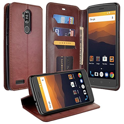 GALAXY WIRELESS Compatible for ZTE Max XL Case, ZTE Blade Max 3 Case, ZTE Max Blue 4G LTE (Z986DL) Case, Flip Folio Wrist Strap [Kickstand] Pu Leather Wallet Case with ID Slots for ZTE Max XL - Brown