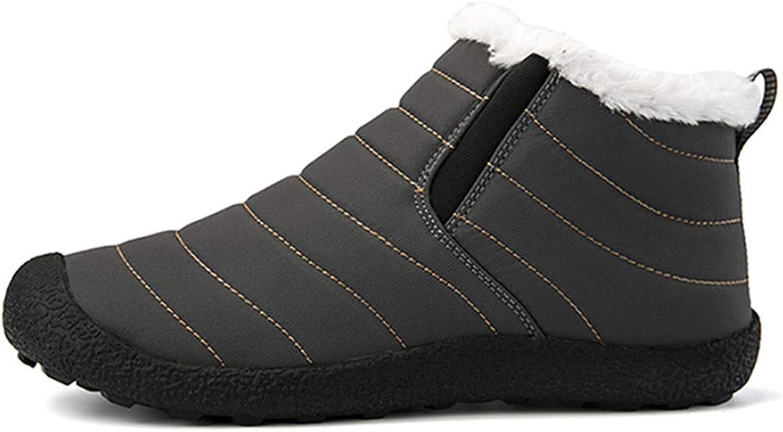 Fay Waters Mens Velvet Snow Boots Women Winter Anti-Slip Ankle Booties Waterproof Slip On Warm Fur Lined Sneaker