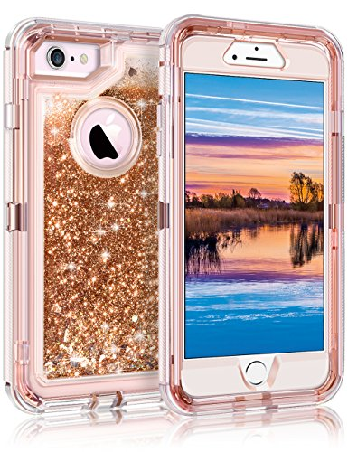 Coolden Case for iPhone SE 2020 iPhone 6S Protective Glitter Case for Women Girls Cute Bling Sparkle 3D Quicksand Heavy Duty Hard Shell Shockproof TPU Case for 4.7 Inches iPhone 6 6S 7 8, Light Coffee