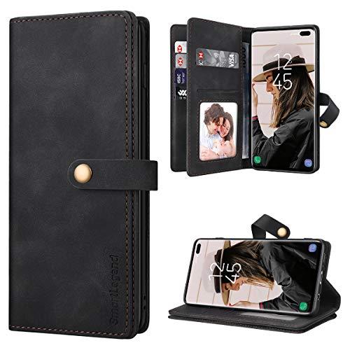 SmartLegend Handyhülle für Samsung Galaxy S10 Plus Hülle Premium Leder PU mit 10 Kartenfach Flip Hülle Magnet Klapphülle Silikon Bumper Schutzhülle für Samsung Galaxy S10 Plus Tasche - Schwarz