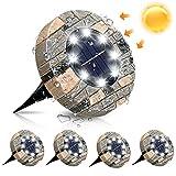 GLIME Solarleuchten für Außen, 8 LEDs Solar Bodenleuchte Gartenleuchte, IP65 Wasserdicht Solarlampe Garten Licht Deko für Rasen Auffahrt Gehweg Patio Garden, Kaltweiß 4er Set