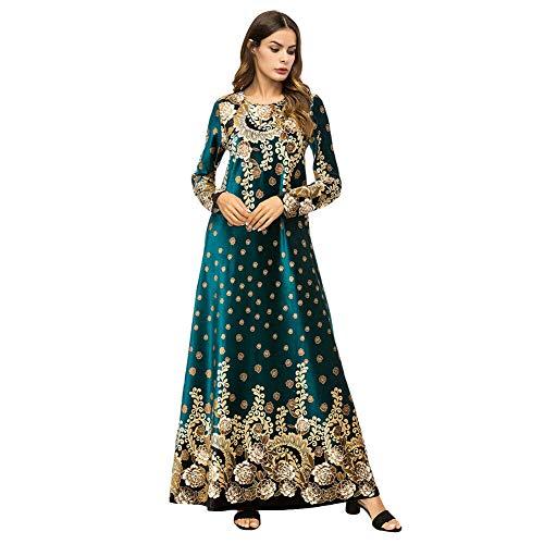 Meijunter Muslimisches Samt Kleid für Damen - Lose Golddruck Elegante Kleider Ethnische Kleidung Arabische Abaya Hindu Islamische Dubai Saudi Kaftans Grün M-XXXXL