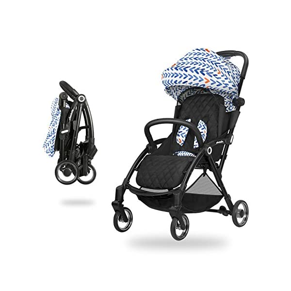 JXCC Baby Stroller, Convertible Baby Carriage, Infant Pram Stroller with Cup Holder and 5-Point Safety System -Safe And Stylish Blue JXCC 1. Can be used out of the box, no need to install, small, easy to carry, boarding, such as the size of a backpack. 2. Backboard design, with three large pieces of hard board support, moderate hardness. 3. Can sit, can move, small bed, suitable for 0-3 years old baby. 1