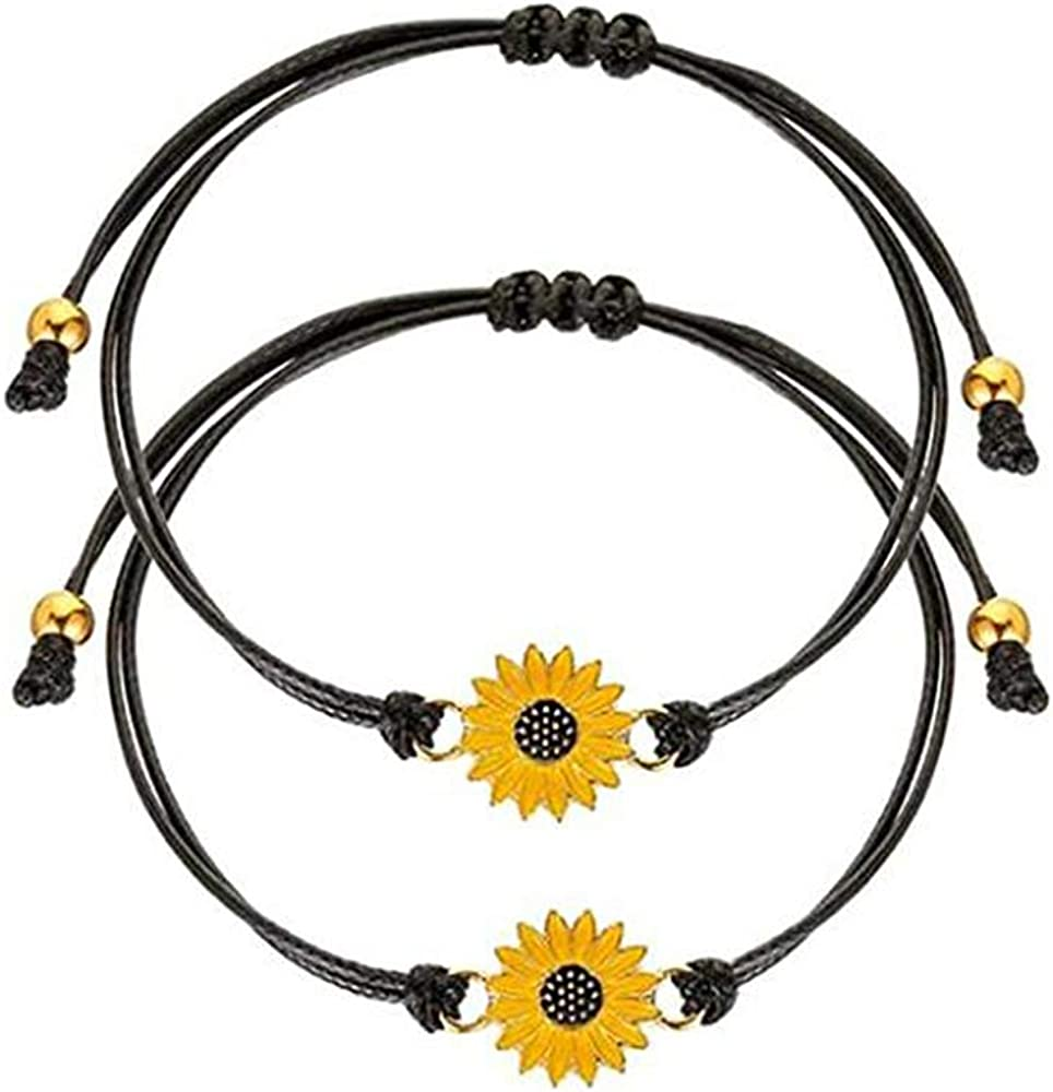 Handmade Sunflower bracelet Adjustable 2 pcs with Paper jam cuff